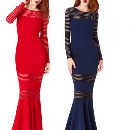 Goddiva Striped Long Sleeved Fishtail Maxi Dress