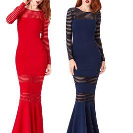 56810549b7996 Goddiva Striped Long Sleeved Fishtail Maxi Dress