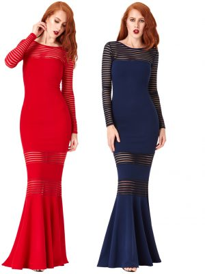 Goddiva Striped Long Sleeved Fishtail Maxi Dress