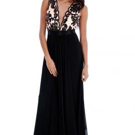 Goddiva V Neckline Chiffon Maxi Dress