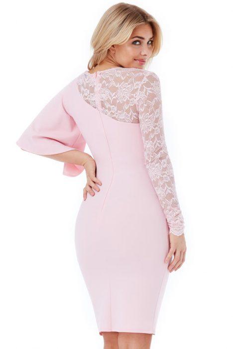 Goddiva Asymmetric Sleeve Midi Dress with Lace Detail 3