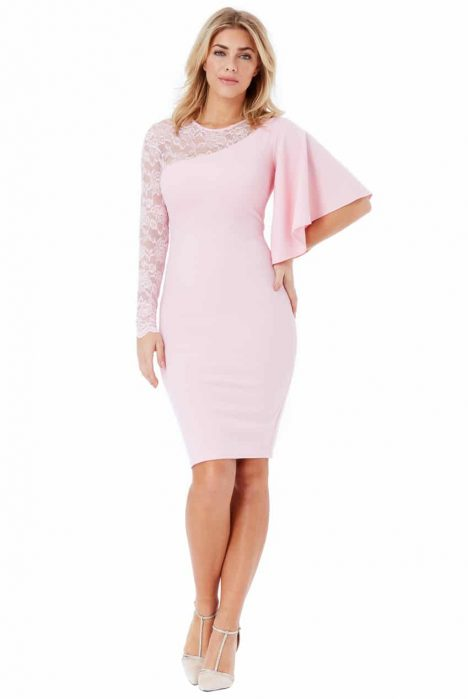 Goddiva Asymmetric Sleeve Midi Dress with Lace Detail 2