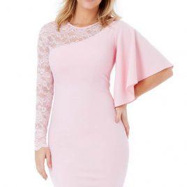 Goddiva Asymmetric Sleeve Midi Dress with Lace Detail