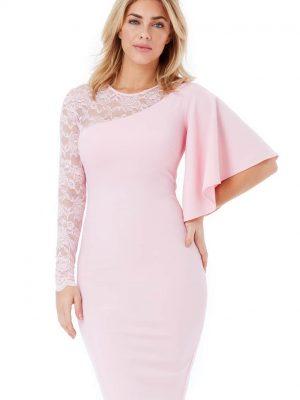 Goddiva Asymmetric Sleeve Midi Dress