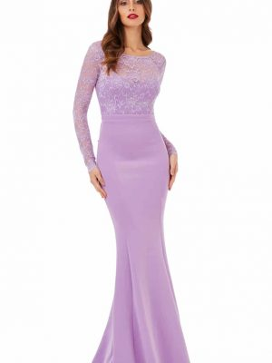 Goddiva Open Back Lace Maxi Dress with Bow Detail