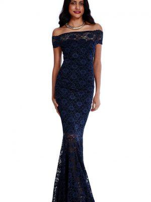 Goddiva Navy Bardot Lace Maxi Dress