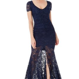 Goddiva Deep V Neckline Lace Maxi Dress with Short Sleeves