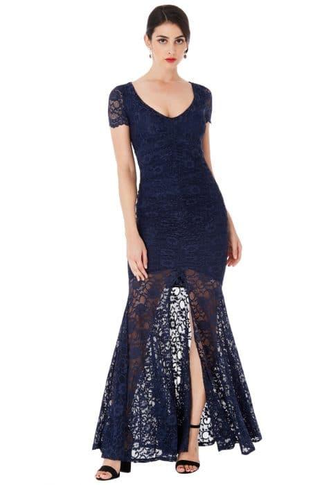 Goddiva Deep V Neckline Lace Maxi Dress with Short Sleeves