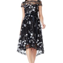 Goddiva Floral Embroidered Mesh Skater Dress