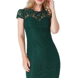 Goddiva Cap Sleeves Lace Midi Dress