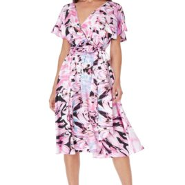 Goddiva Satin Printed Flutter Sleeve Midi Dress with Belt