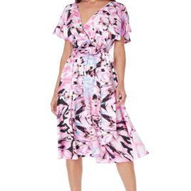 Goddiva Satin Printed Flutter Sleeve Midi Dress with Belt