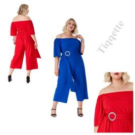 Goddiva Plus Size Bardot Culotte Jumpsuit with Belt