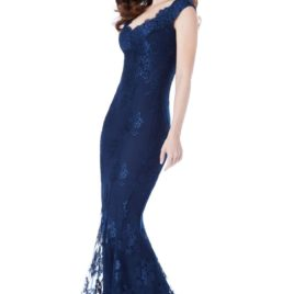 Stephanie Pratt Off The Shoulder Lace Fishtail Maxi Dress