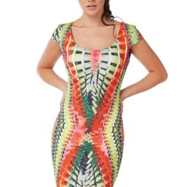 Goddiva Tribal Print Bodycon Midi Dress