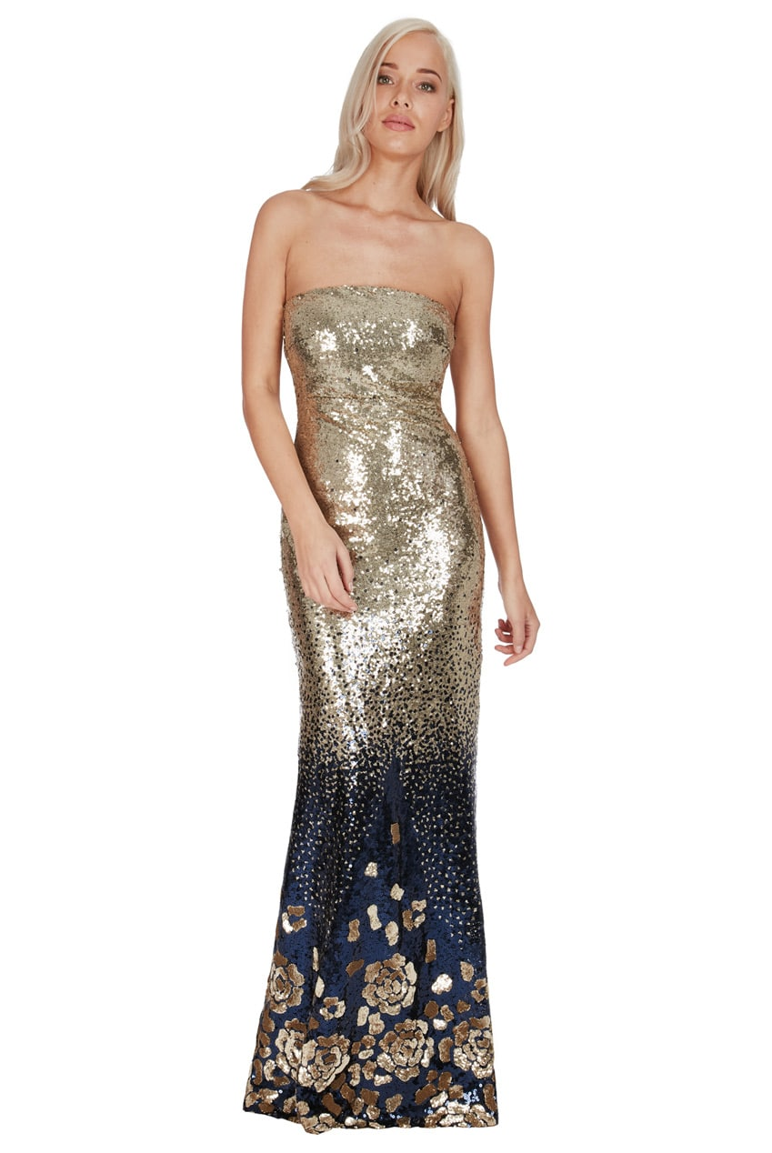 Details about Goddiva Gradiated Sequin Maxi Dress