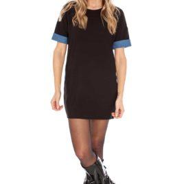 Goddiva Chambray Contrast Sleeve Tunic