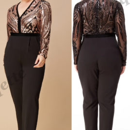 Goddiva Plus Size Deep V Neck Sequin Jumpsuit