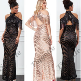 Goddiva Fringe Collar Sequin Maxi Dress