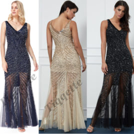 Goddiva Hand Embellished Sequin Star Shine Evening Maxi Dress