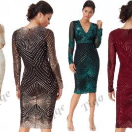 Goddiva Scalloped Hem Starburst Midi Dress