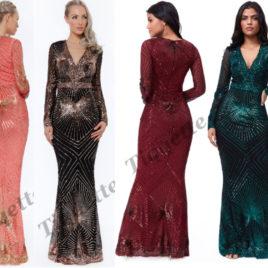 Goddiva Starburst Sequin Maxi Dress