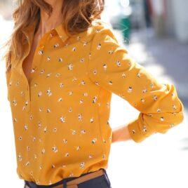 Blancheporte MUSTARD Floral Print Long Sleeve Shirt