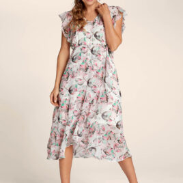 Cellbes WHITE Floral Print Frill Midi Dress