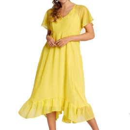 Cellbes YELLOW Spotted Frill Hem Midi Dress