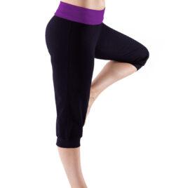 Decathlon BLACK Cotton Rich Contrast Waist Yoga