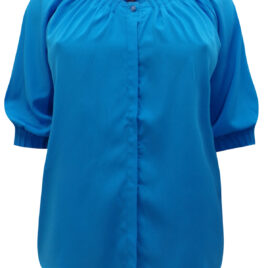 Denim 24/7 BLUE Button Through Pleated 3/4 Sleeve Top
