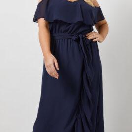 Dorothy Perkins NAVY Ruffle Wrap Maxi Dress