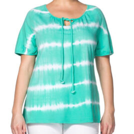 Sheego GREEN Pure Cotton Dye Tie Neck Top