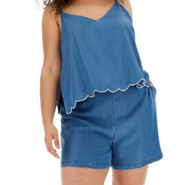 SimplyBe MID-BLUE Scallop Hem Tencel Playsuit